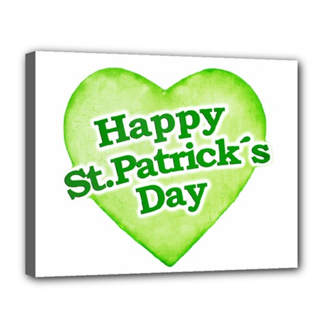Happy St Patricks Day Design Canvas 14  X 11  (framed) by dflcprints