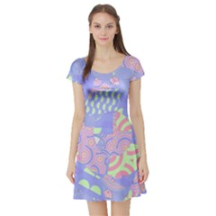 Girls Bright Pastel Summer Design Blue Pink Green Short Sleeve Skater Dress