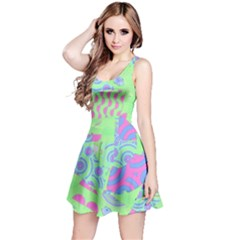 Tropical Neon Green Purple Blue Reversible Sleeveless Dress by CrypticFragmentsColors