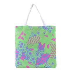 Tropical Neon Green Purple Blue Grocery Tote Bag by CrypticFragmentsColors