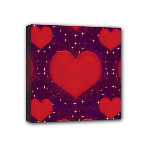 Galaxy Hearts Grunge Style Pattern Mini Canvas 4  X 4  (framed) by dflcprints