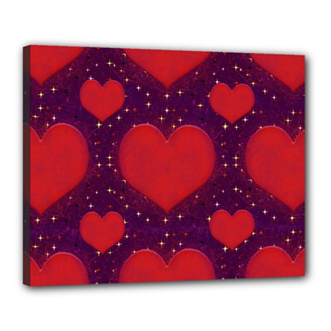 Galaxy Hearts Grunge Style Pattern Canvas 20  X 16  (framed) by dflcprints