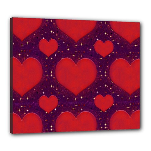 Galaxy Hearts Grunge Style Pattern Canvas 24  X 20  (framed) by dflcprints