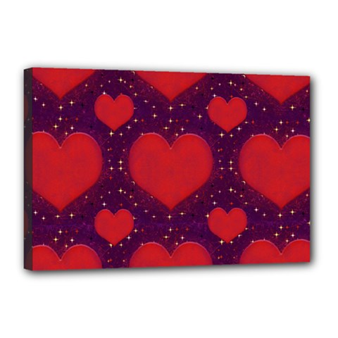Galaxy Hearts Grunge Style Pattern Canvas 18  X 12  (framed) by dflcprints