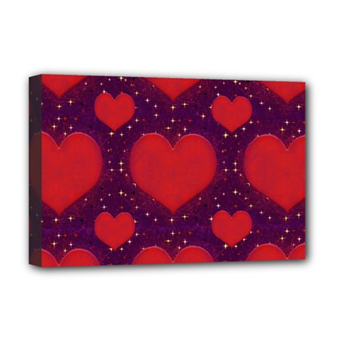 Galaxy Hearts Grunge Style Pattern Deluxe Canvas 18  X 12  (framed) by dflcprints