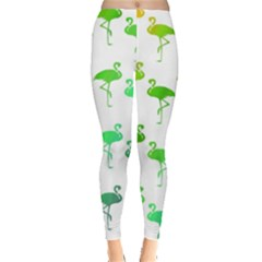 Flamingo Pattern Rainbow  Leggings  by CrypticFragmentsColors