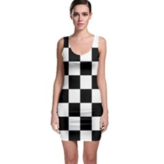 Checkered Flag Race Winner Mosaic Tile Pattern Bodycon Dress by CrypticFragmentsColors