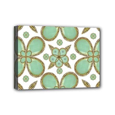 Luxury Decorative Pattern Collage Mini Canvas 7  X 5  (framed) by dflcprints