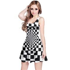 Checkered Flag Race Winner Mosaic Tile Pattern Repeat Sleeveless Dress by CrypticFragmentsColors