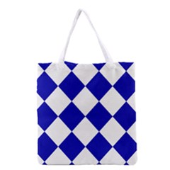 Harlequin Diamond Pattern Cobalt Blue White Grocery Tote Bag