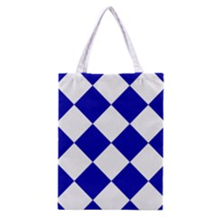 Harlequin Diamond Pattern Cobalt Blue White Classic Tote Bag