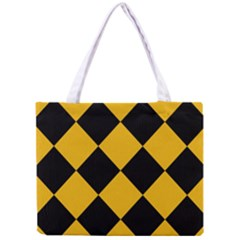 Harlequin Diamond Gold Black Tiny Tote Bag by CrypticFragmentsColors