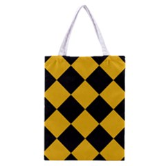 Harlequin Diamond Gold Black Classic Tote Bag by CrypticFragmentsColors