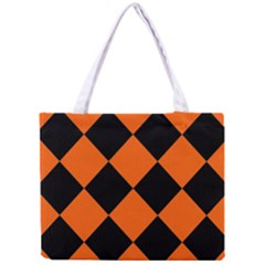 Harlequin Diamond Orange Black Tiny Tote Bag