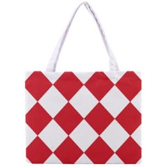 Harlequin Diamond Red White Tiny Tote Bag by CrypticFragmentsColors