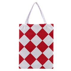 Harlequin Diamond Red White Classic Tote Bag by CrypticFragmentsColors