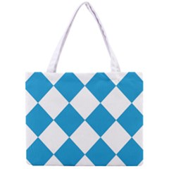 Harlequin Diamond Argyle Turquoise Blue White Tiny Tote Bag by CrypticFragmentsColors