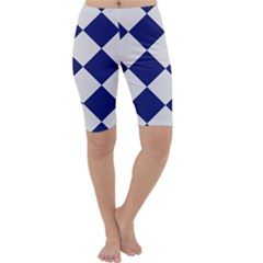 Harlequin Diamond Argyle Sports Team Colors Navy Blue Silver Cropped Leggings
