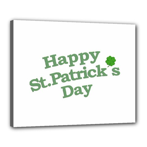 Happy St Patricks Text With Clover Graphic Canvas 20  X 16  (framed) by dflcprints