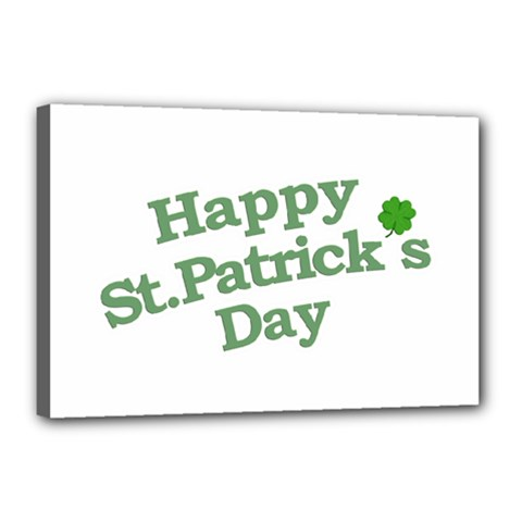 Happy St Patricks Text With Clover Graphic Canvas 18  X 12  (framed) by dflcprints