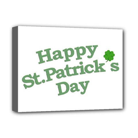 Happy St Patricks Text With Clover Graphic Deluxe Canvas 16  X 12  (framed)  by dflcprints