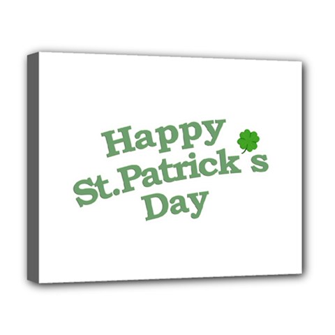 Happy St Patricks Text With Clover Graphic Deluxe Canvas 20  X 16  (framed) by dflcprints