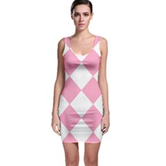 Harlequin Diamond Pattern Pink White Bodycon Dress by CrypticFragmentsColors