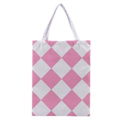 Harlequin Diamond Pattern Pink White Classic Tote Bag by CrypticFragmentsColors
