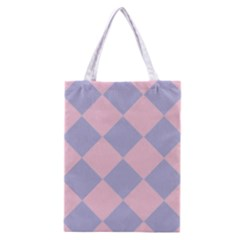 Harlequin Diamond Argyle Pastel Pink Blue Classic Tote Bag by CrypticFragmentsColors