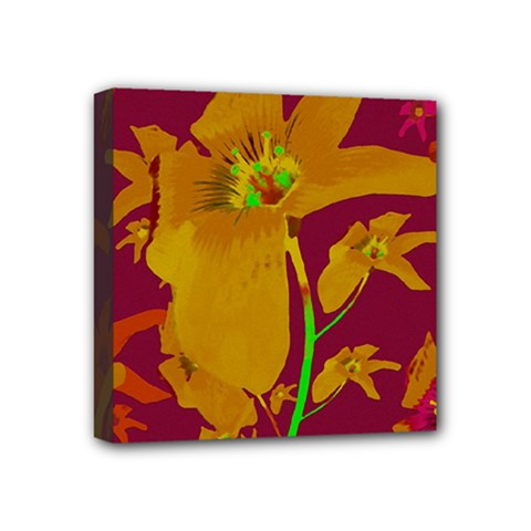 Tropical Hawaiian Style Lilies Collage Mini Canvas 4  X 4  (framed) by dflcprints
