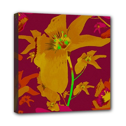 Tropical Hawaiian Style Lilies Collage Mini Canvas 8  X 8  (framed) by dflcprints