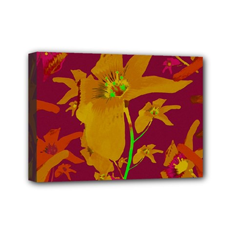 Tropical Hawaiian Style Lilies Collage Mini Canvas 7  X 5  (framed) by dflcprints