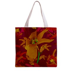 Tropical Hawaiian Style Lilies Collage Grocery Tote Bag by dflcprints
