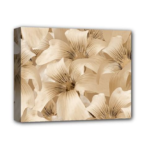 Elegant Floral Pattern In Light Beige Tones Deluxe Canvas 14  X 11  (framed) by dflcprints