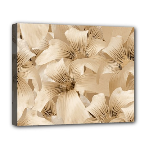 Elegant Floral Pattern In Light Beige Tones Deluxe Canvas 20  X 16  (framed) by dflcprints