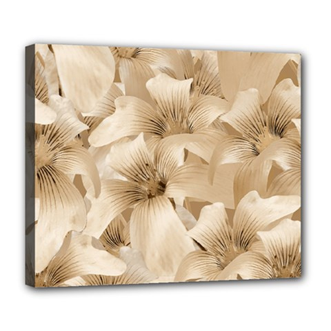 Elegant Floral Pattern In Light Beige Tones Deluxe Canvas 24  X 20  (framed) by dflcprints