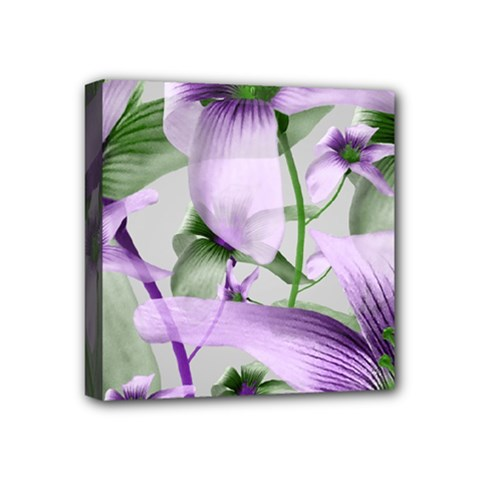 Lilies Collage Art In Green And Violet Colors Mini Canvas 4  X 4  (framed) by dflcprints