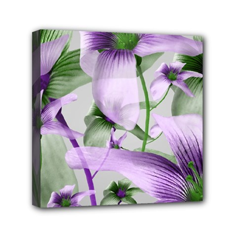 Lilies Collage Art In Green And Violet Colors Mini Canvas 6  X 6  (framed) by dflcprints