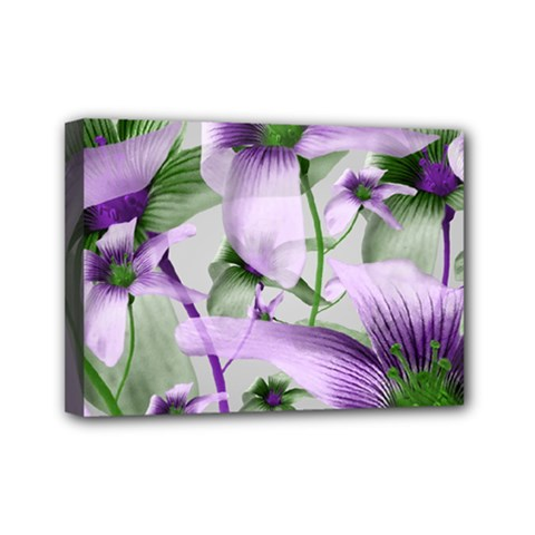 Lilies Collage Art In Green And Violet Colors Mini Canvas 7  X 5  (framed) by dflcprints