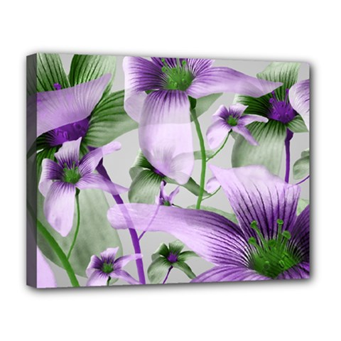 Lilies Collage Art In Green And Violet Colors Canvas 14  X 11  (framed) by dflcprints
