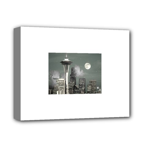 Grey Space Needle Deluxe Canvas 14  x 11  (Framed) by stineshop
