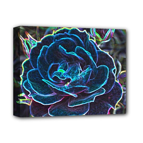 Swirly Blue Neon Rose Deluxe Canvas 14  x 11  (Framed) by stineshop