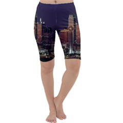 Dallas Skyline At Night Cropped Leggings  by StuffOrSomething