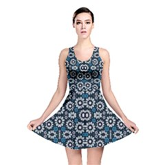 Floral Print Seamless Pattern In Cold Tones Reversible Skater Dress