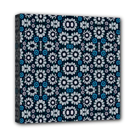 Floral Print Seamless Pattern In Cold Tones  Mini Canvas 8  X 8  (framed) by dflcprints