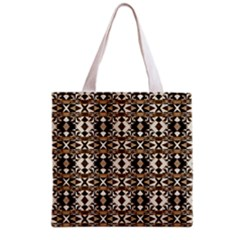 Geometric Tribal Style Pattern In Brown Colors Scarf Grocery Tote Bag by dflcprints