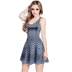 Futuristic Grid Pattern Design Print In Blue Tones Sleeveless Dress by dflcprintsclothing