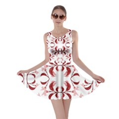 Floral Print Modern Pattern In Red And White Tones Skater Dress by dflcprintsclothing