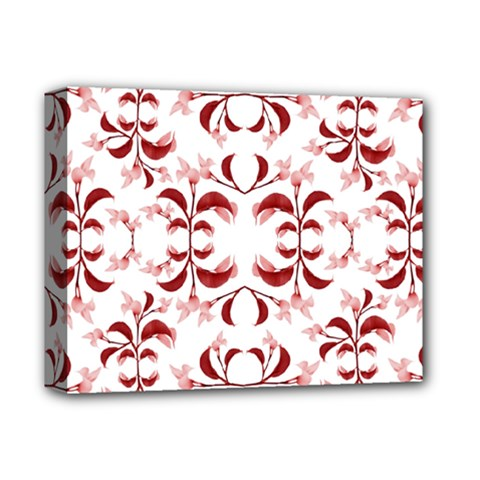 Floral Print Modern Pattern In Red And White Tones Deluxe Canvas 14  X 11  (framed) by dflcprints