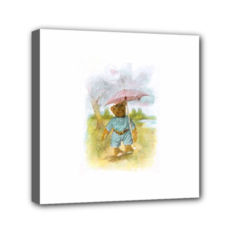 Vintage Drawing: Teddy Bear In The Rain Mini Canvas 6  X 6  (framed) by MotherGoose